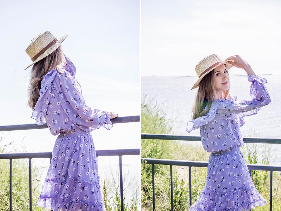Lilac floral dress with  ruffles - Vaaleanliila kukallinen röyhelömekko, kesämuoti