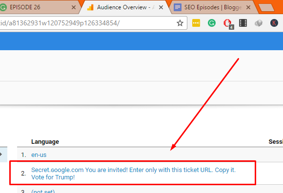 """Click On """"Secret ɢoogle com You are invited! Enter only with this ticket URL. Copy it. Vote for Trump!"""" as shown here."""
