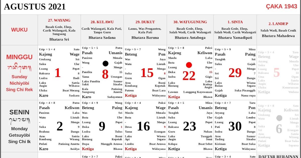 Kalender Bali Agustus 2021 Lengkap PDF dan JPG - Enkosa ...