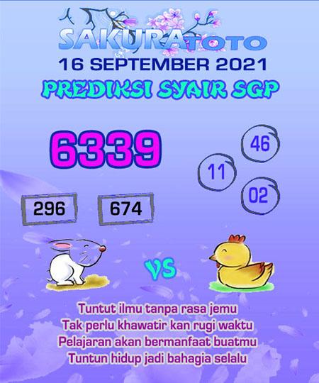Syair SGP Kamis 16 September 2021