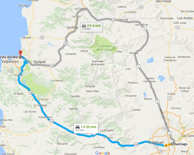 Viagem de carro de Santiago do Chile à Viña del Mar