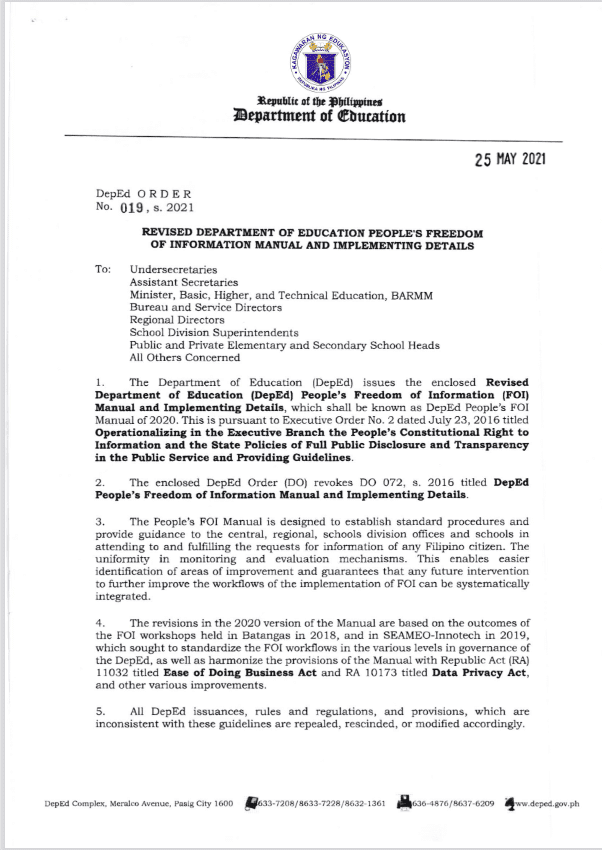 DEPED ORDER NO.019 S 2021: REVISED DEPARTMENT OF EDUCATION PEOPLE'S FREEDOM OF INFORMATION MANUAL AND IMPLEMENTING DETAILS