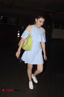 Hansika Motwani Spotted in Mumbai in a very short pale blue dress cute smiling beauty