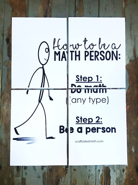 "How to be a Math Person poster pfd enlarged to print on multiple pages. We are all math people! In this post is a free How to be a Math Person poster to help instill a growth mindset in your math classroom. Also includes a ""How to be a Maths Person"" version for international teachers."