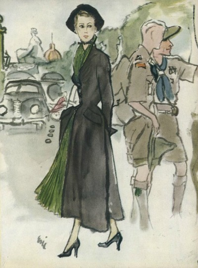 Christian Dior Illustrated by Eric, Vogue, October 1947