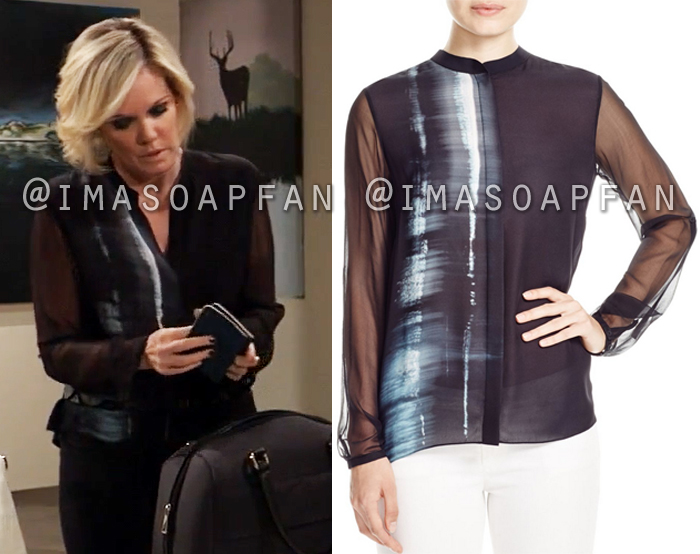Ava Jerome, Maura West, Black White and Blue Abstract Print Blouse, General Hospital, GH