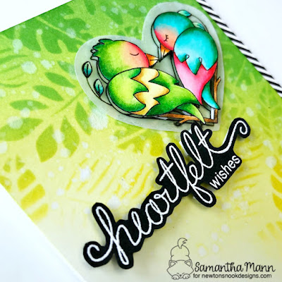 Heartfelt Wishes Card by Samantha Mann for Newton's Nook Designs, Love Birds, Cards, Stencil, Distress Inks, Ink blending, #newtonsnook #distressinks #inkblending #lovebirds #cards #cardmaking