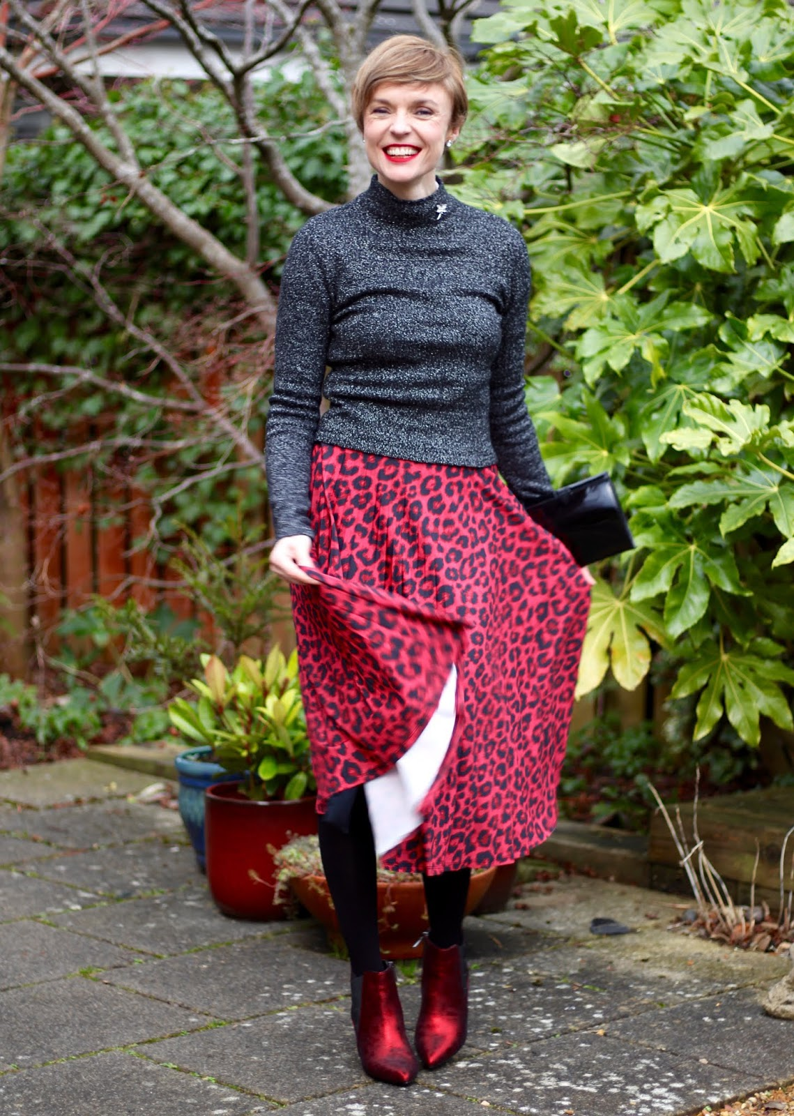 Lurex jumper, red leopard skirt and metallic boots | Fake Fabulous