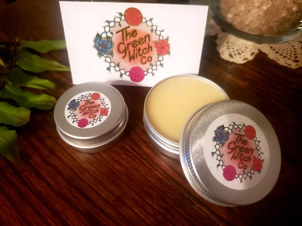 lip balm, salve, green witch, herb witch, witchcraft, witchy, witch business, handmade, etsy, small business