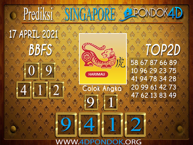 Prediksi Togel SINGAPORE PONDOK4D 17 APRIL 2021