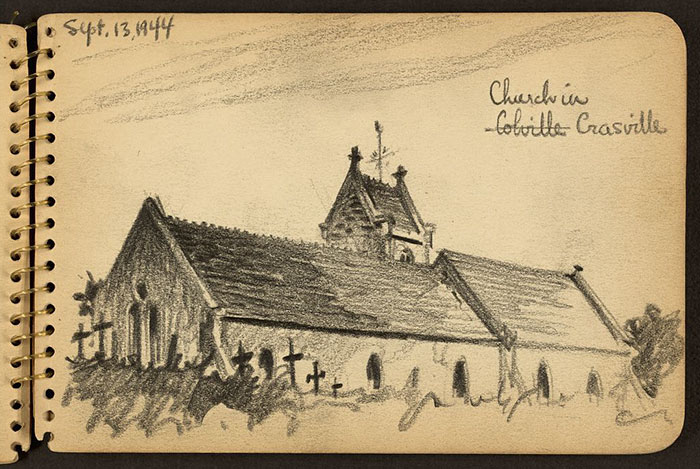 21-Year-Old WWII Soldier's Sketchbooks Show War Through The Eyes Of An Architect - Church In Crasville, Manche, France