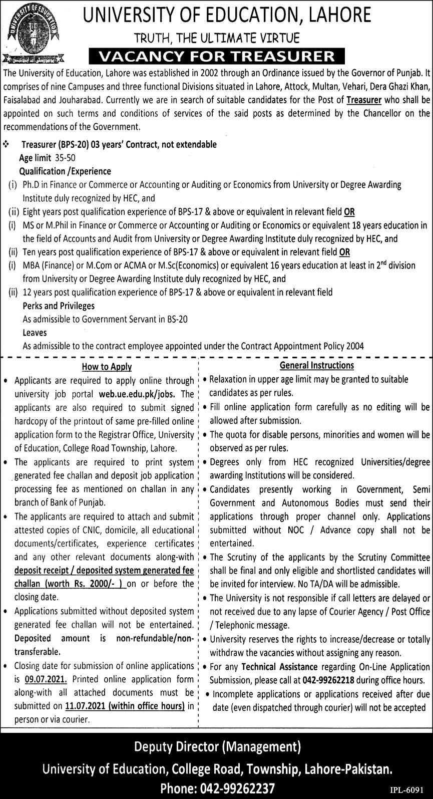 web.ue.edu.pk Jobs 2021 - UE University of Education Lahore Jobs 2021 in Pakistan