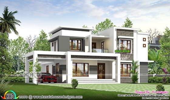 4 bedroom flat roof house