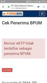 Nama tidak terdaftar sebagai penerima UMKM BRI