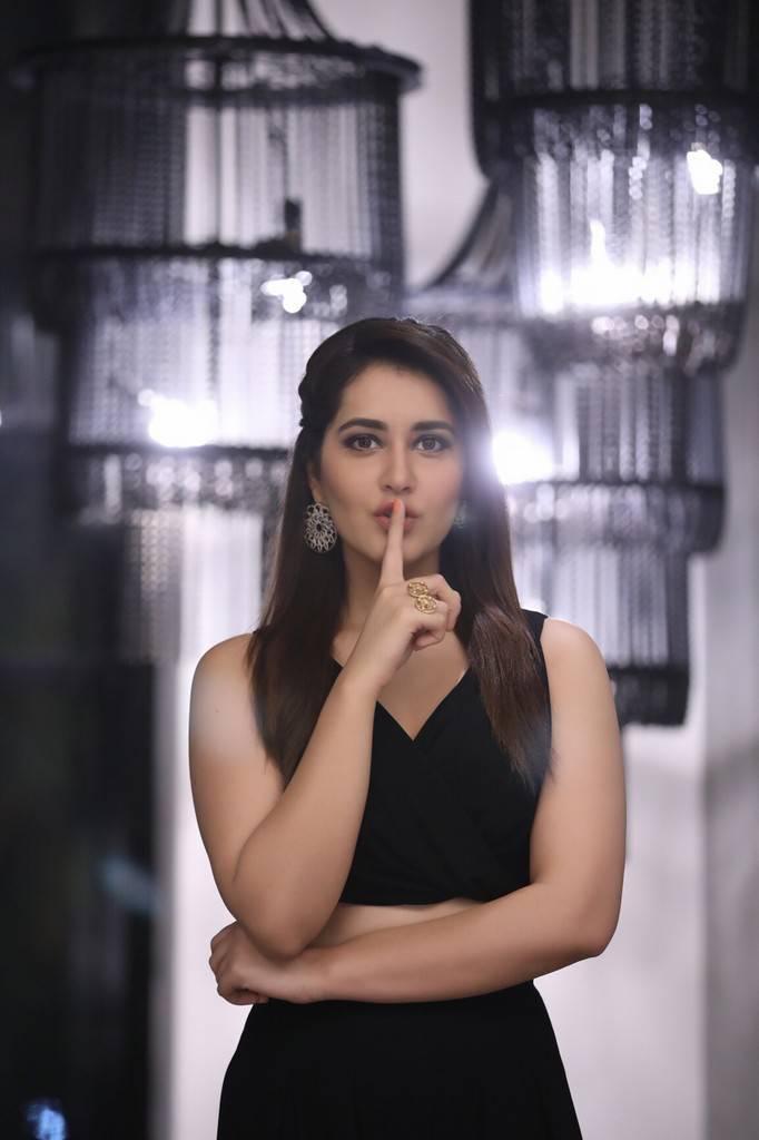 Beautiful Telugu Girl Rashi Khanna Photo Shoot In Black Dress