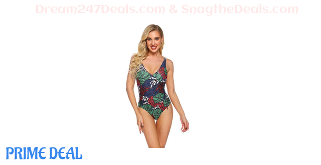 70% V Neck Tropical Forest Print Swimsuits