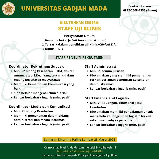 Loker Dokter Staff Uji Klinis (Penelitian On-Site dan Peneliti Rekrutmen) Penelitian Uji Klinis Universitas Gadjah Mada (UGM) Yogyakarta