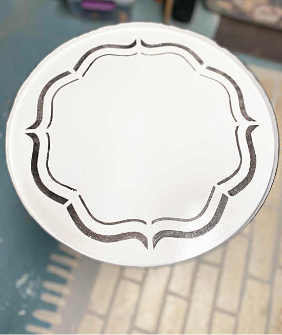 black stenciled table top