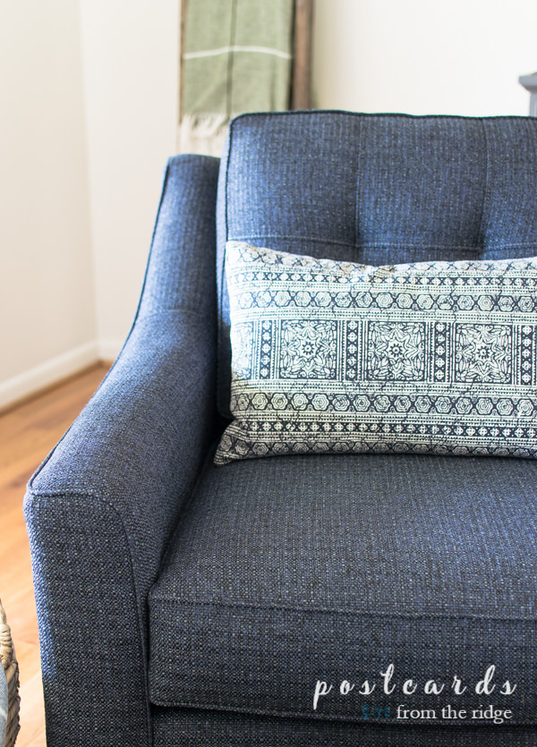indigo blue textured accent chair from Rooms To Go