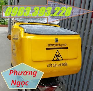 Thùng vận chuyển rác thải y tế, thùng chở chất thải y tế sau xe máy B2013958dc653e3b6774