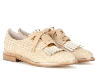 "Oscar de la Renta ""Adelaide"" raffia and metallic leather derby shoes"