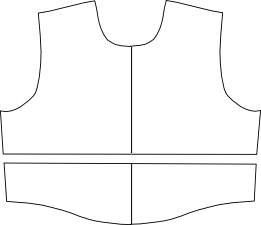 Bodice pattern split for a midriff