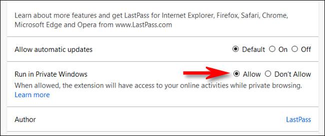 """في صفحة إدارة ملحقات Firefox ، حدد """"السماح"""" للخيار """"تشغيل في Windows الخاص""""."""