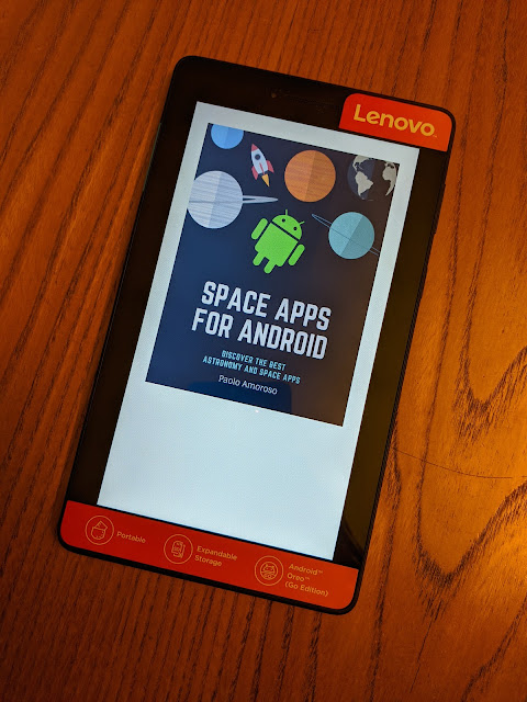 Cover of Space Apps for Android in the Google Play Books app on a Lenovo Tab E7 tablet