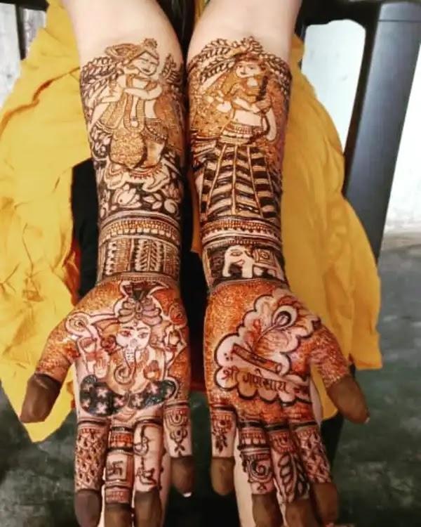 Ganesha_with_couple_henna_pettern