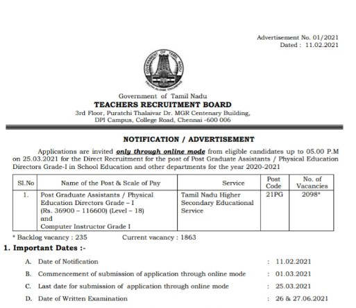 Flash News PG TRB Exam 2021 Announcement Direct Recruitment for the Post of Post Graduate Assistants Physical Education Directors Grade-I Notification