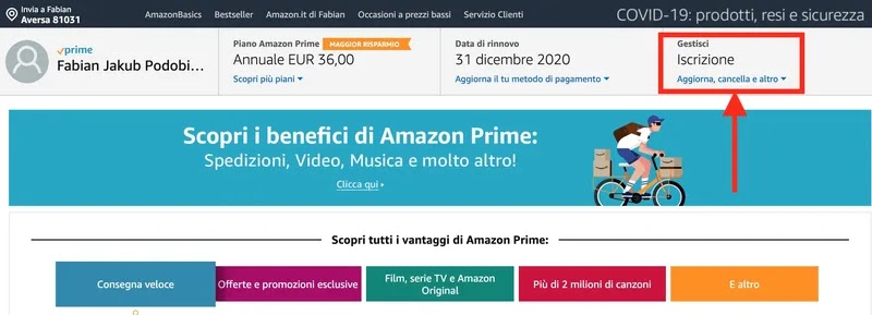 come fare la disdetta di amazon prime student