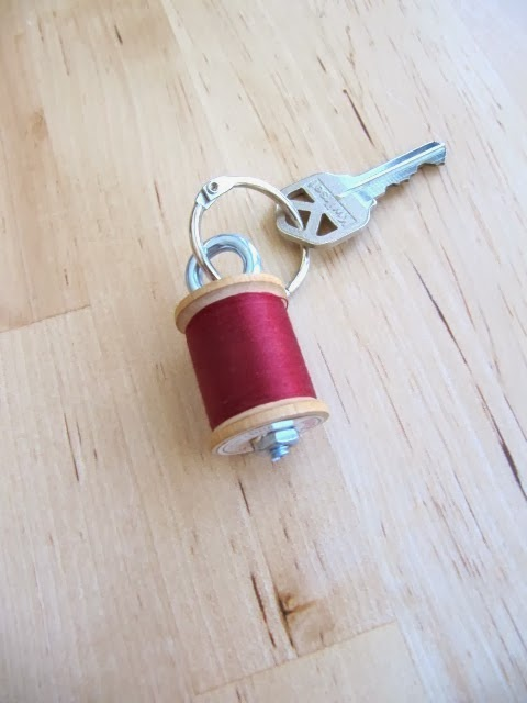 spool of thread key chain