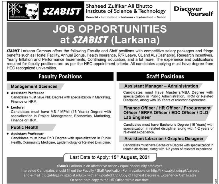 SZABIST Larkana Jobs 2021 – Shaheed Zulfikar Ali Bhutto Institute of Science & Technology