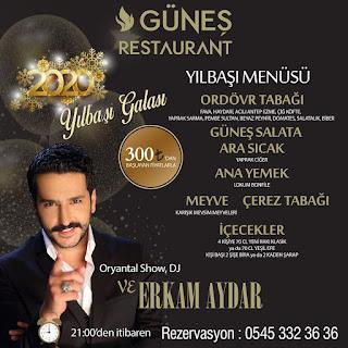 Güneş Restaurant Antalya Yılbaşı Programı 2020 Menüsü