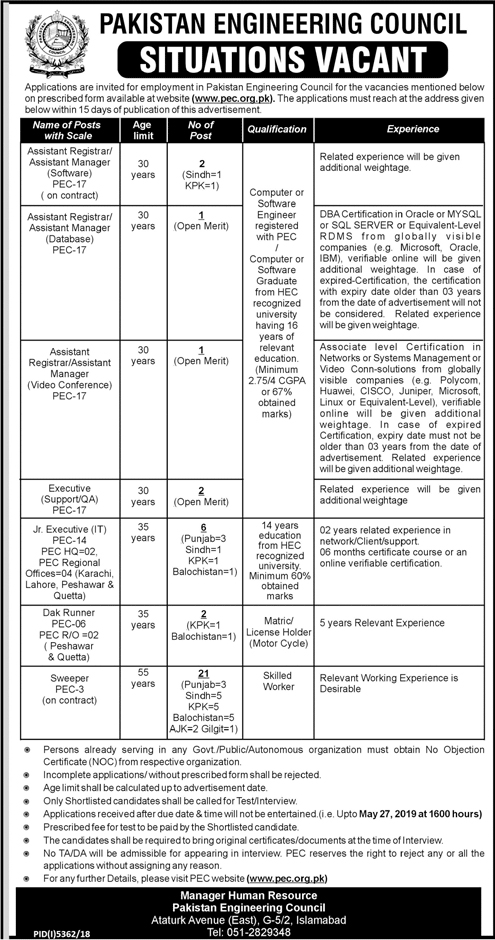 PEC Jobs 2019 | Pakistan Engineering Council job 2019