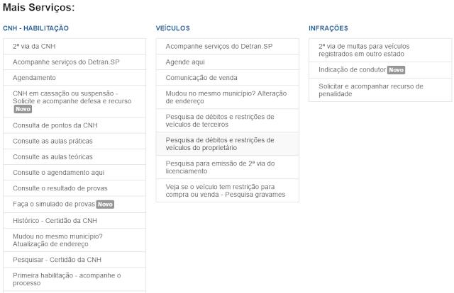 Área de Serviços Online do Site do Detran de São Paulo - IPVA Atrasado