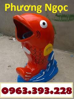 Thùng rác hình con vật, thùng rác công viên, thùng rác hình chim cánh cụt, thùng Hinhcachep-thungraccomposite