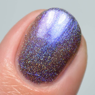 purple to red linear holographic multichrome nail polish
