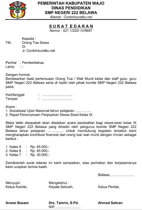 Contoh Surat edaran sekolah 2019   Kumpulan Contoh Surat ...