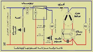 الدائرة الكهربائية للثلاجة البابين اذابة الصقيع اتوماتيكيا