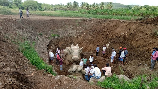 Centuries-old Nandi statues unearthed near Mysore