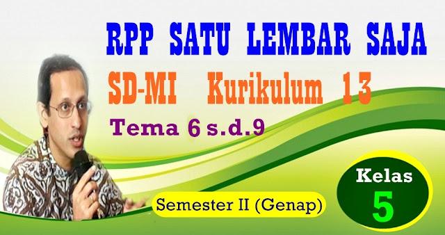 RPP SATU LEMBAR SD/MI KURIKULUM 2013 KELAS 5 (LIMA) SEMESTER  II - GENAP - REVISI