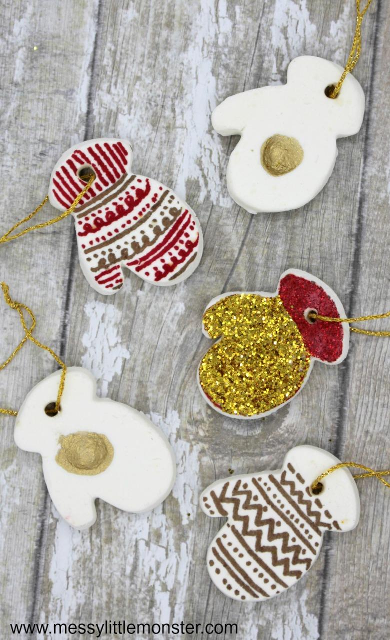 homemade clay mitten craft for kids