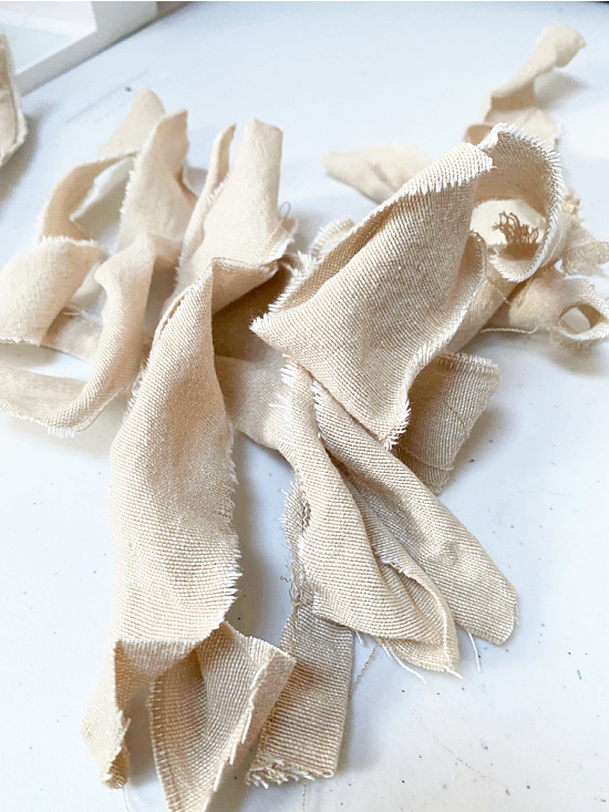 pile of rags from a curtain