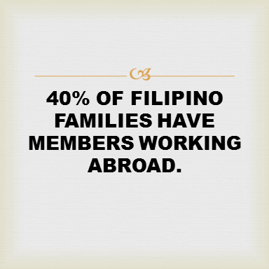 40% of Filipino Families have members working abroad. 68% have 1 parent working abroad. 32% have both parents working abroad.  Working abroad allows OFWs to provide a better life for their families. But what do their children really want? Here's what 3 OFW families had to say.  In real life, sacrifices need to be made, but time spent apart shouldn't go to waste. This Insurance company understands the real-life needs of OFWs and has been committed to providing the right solutions and the right plans to help OFWS achieve their long term goals and address their fears.  With the right plan, you can give your children what really matters to them – your presence.