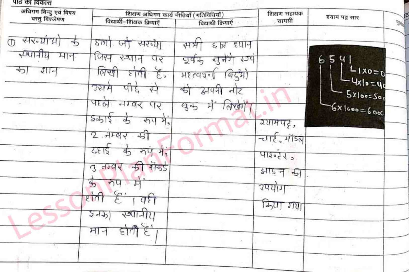 Deled Maths Lesson Plan In hindi