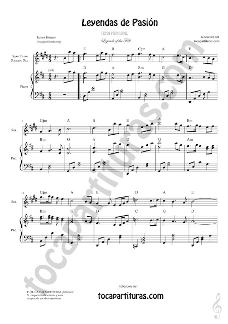 1 Leyendas de Pasión Partitura de Saxofón Tenor y Saxo Soprano Legends of the Fall Sheet Music for Tenor & Soprano Saxophone