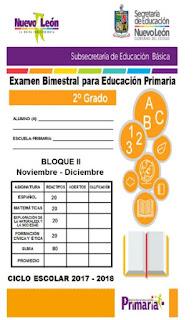 Examen Bimestral para Educación Primaria Segundo Grado Segundo Bimestre