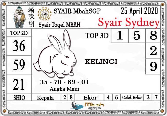 Prediksi Sydney 25 April 2020 - Syair Mbah Sidney