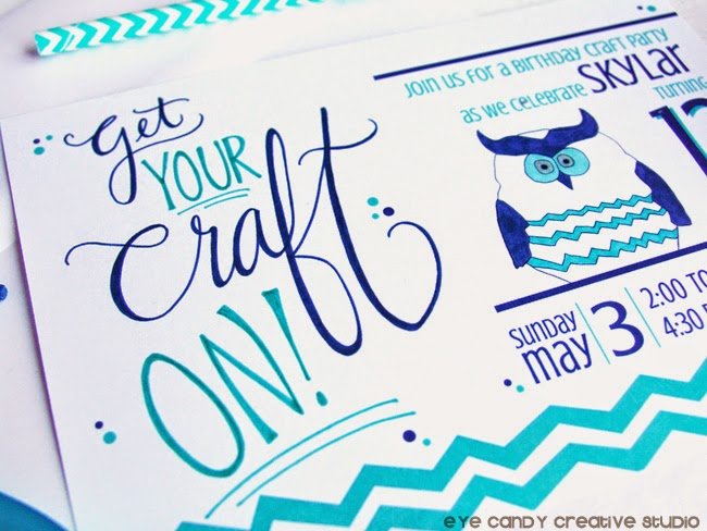 get your craft on, hand lettering, chevron owl, illustration, birthday party